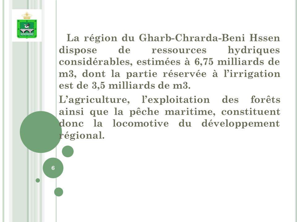 La région du Gharb-Chrarda-Beni Hssen dispose de ressources hydriques considérables, estimées à 6,75 milliards de m3, dont la partie réservée à lirrigation est de 3,5 milliards de m3.