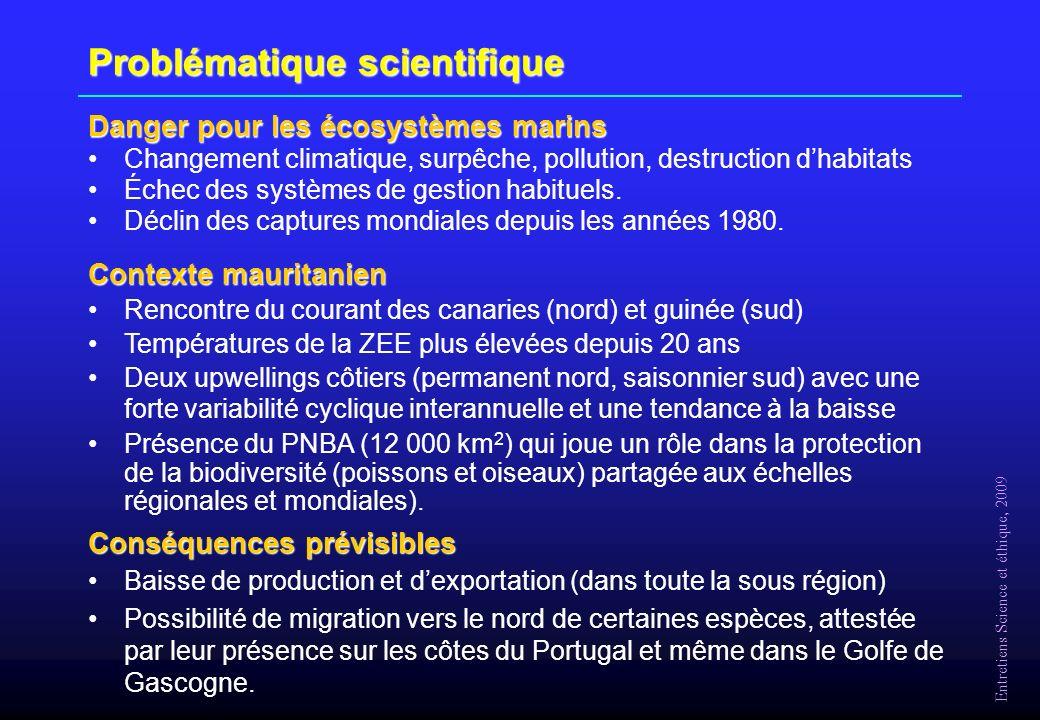 Entretiens Science et éthique, 2009 Problématique scientifique Danger pour les écosystèmes marins Changement climatique, surpêche, pollution, destruction dhabitats Échec des systèmes de gestion habituels.
