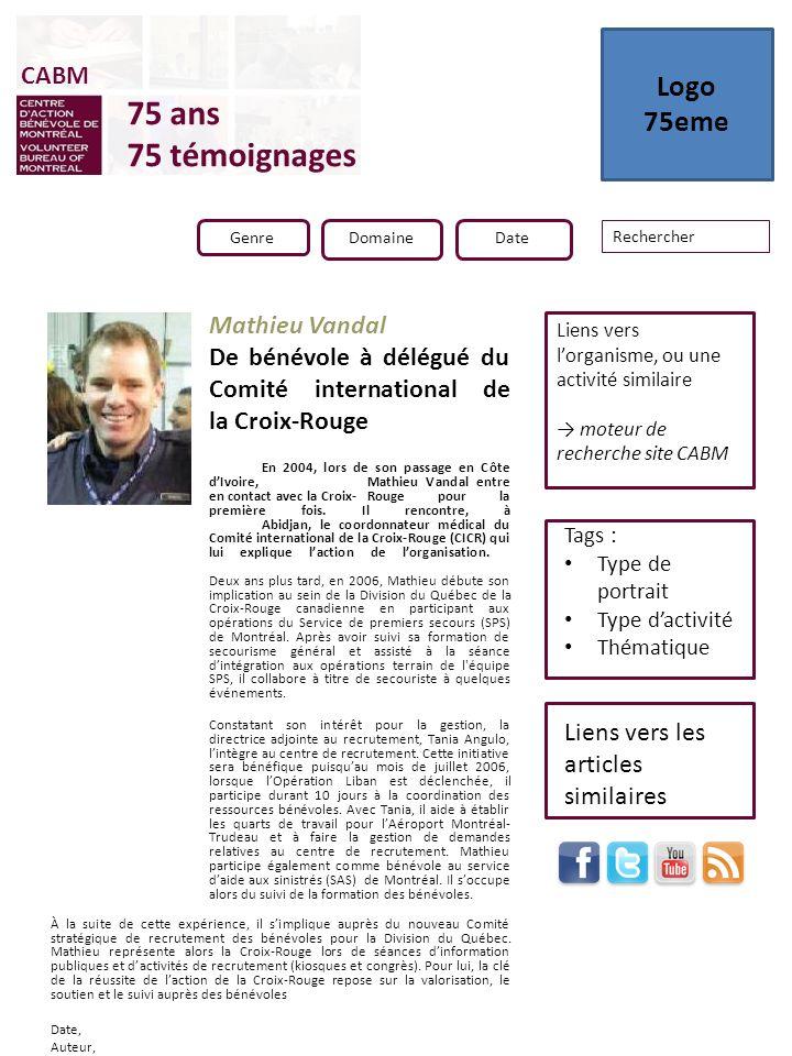 En 2004, lors de son passage en Côte dIvoire, Mathieu Vandal entre en contact avec la Croix-Rouge pour la première fois. Il rencontre, à Abidjan, le c