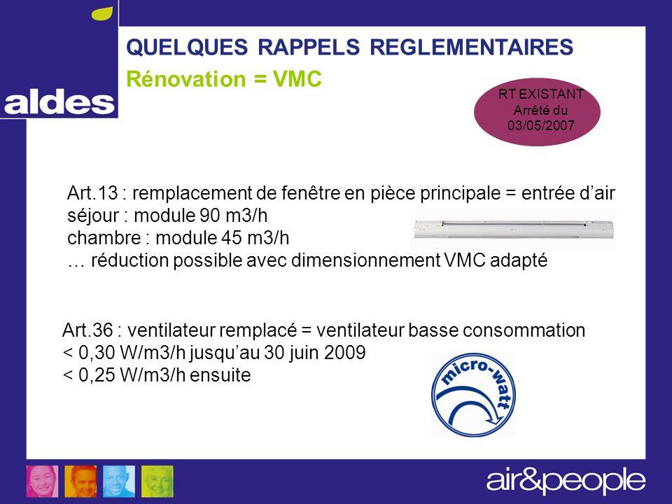 QUELQUES RAPPELS REGLEMENTAIRES Rénovation = VMC RT EXISTANT Arrêté du 03/05/2007 Art.13 : remplacement de fenêtre en pièce principale = entrée dair s