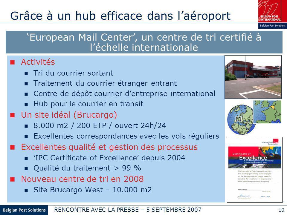 RENCONTRE AVEC LA PRESSE – 5 SEPTEMBRE 2007 10 Grâce à un hub efficace dans laéroport Activités Tri du courrier sortant Traitement du courrier étrange