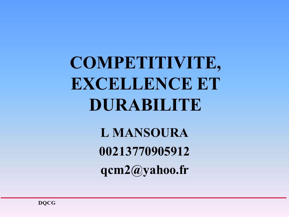 COMPETITIVITE, EXCELLENCE ET DURABILITE L MANSOURA 00213770905912 qcm2@yahoo.fr DQCG