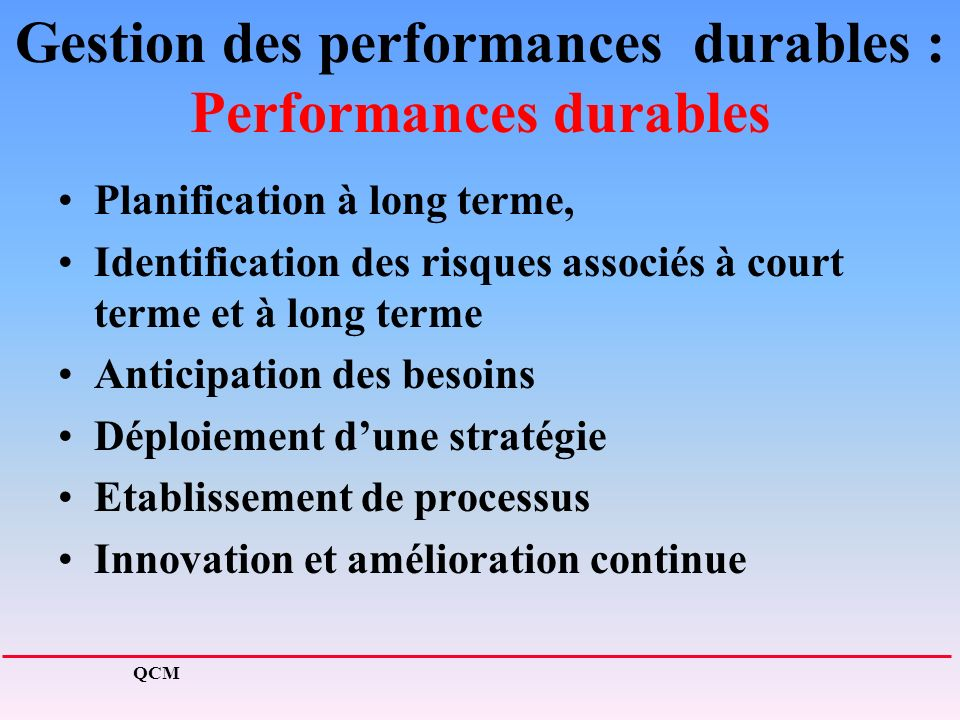 Gestion des performances durables : Performances durables Planification à long terme, Identification des risques associés à court terme et à long term