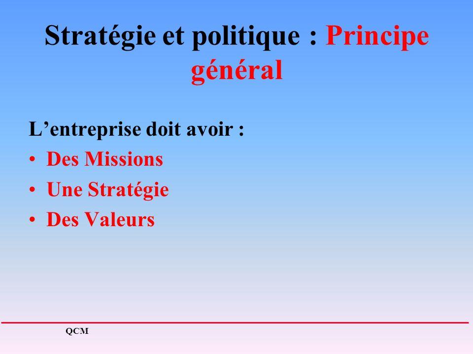 Stratégie et politique : Principe général Lentreprise doit avoir : Des Missions Une Stratégie Des Valeurs QCM