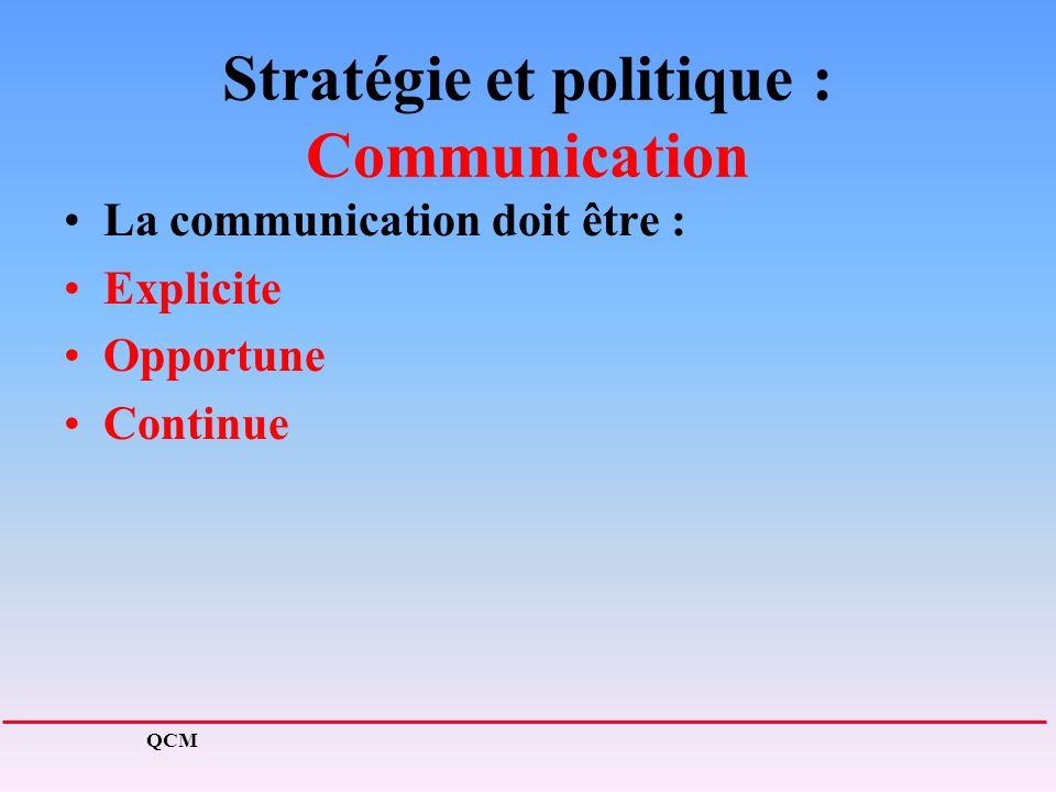Stratégie et politique : Communication La communication doit être : Explicite Opportune Continue QCM