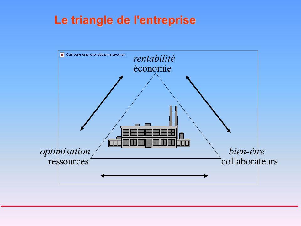 Le triangle de l entreprise ressourcescollaborateurs économie rentabilité optimisationbien-être