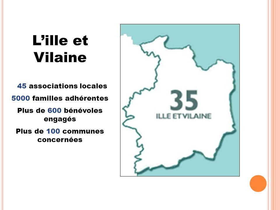 Lille et Vilaine 45 associations locales 5000 familles adhérentes Plus de 600 bénévoles engagés Plus de 100 communes concernées