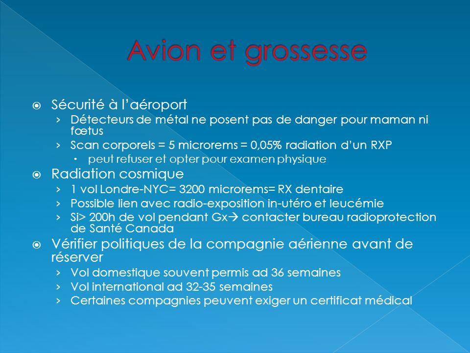 Sécurité à laéroport Détecteurs de métal ne posent pas de danger pour maman ni fœtus Scan corporels = 5 microrems = 0,05% radiation dun RXP peut refus