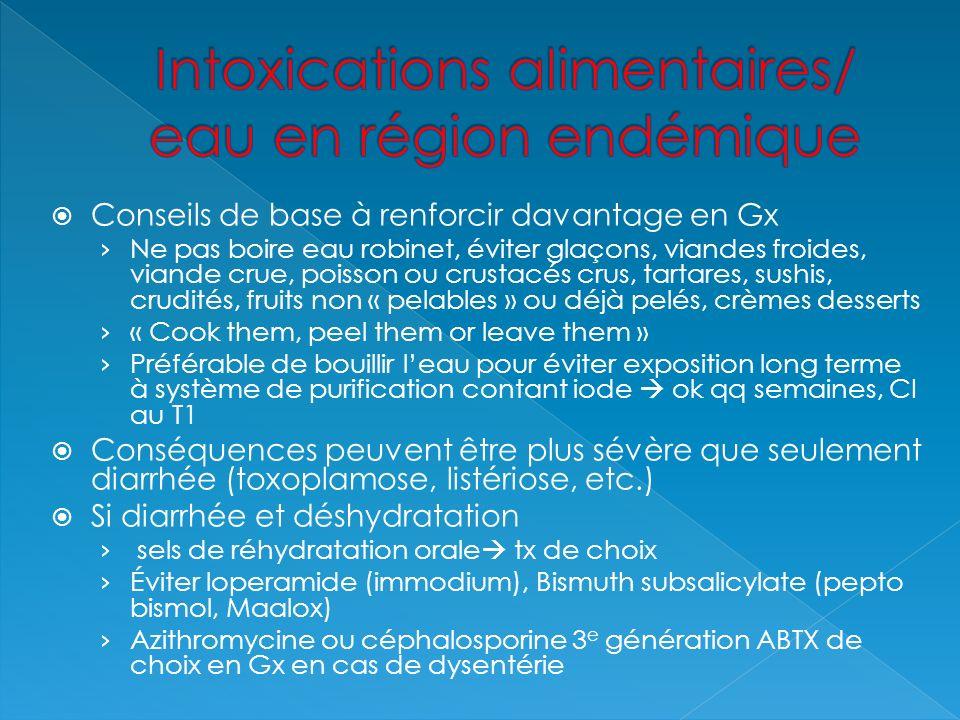 Conseils de base à renforcir davantage en Gx Ne pas boire eau robinet, éviter glaçons, viandes froides, viande crue, poisson ou crustacés crus, tartar