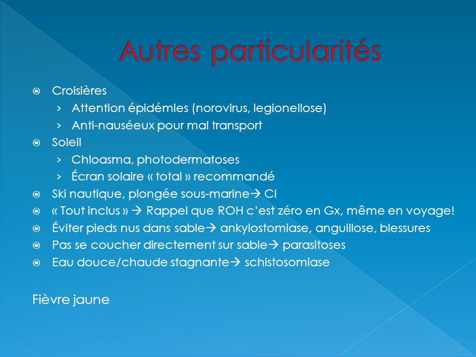 Croisières Attention épidémies (norovirus, legionellose) Anti-nauséeux pour mal transport Soleil Chloasma, photodermatoses Écran solaire « total » rec