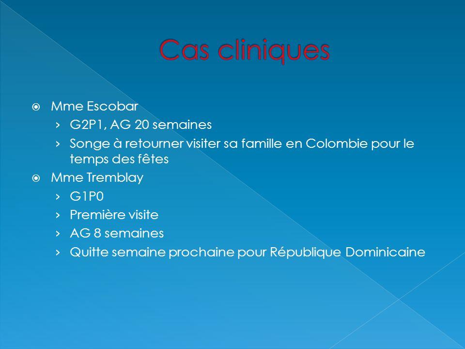 Mme Escobar G2P1, AG 20 semaines Songe à retourner visiter sa famille en Colombie pour le temps des fêtes Mme Tremblay G1P0 Première visite AG 8 semai