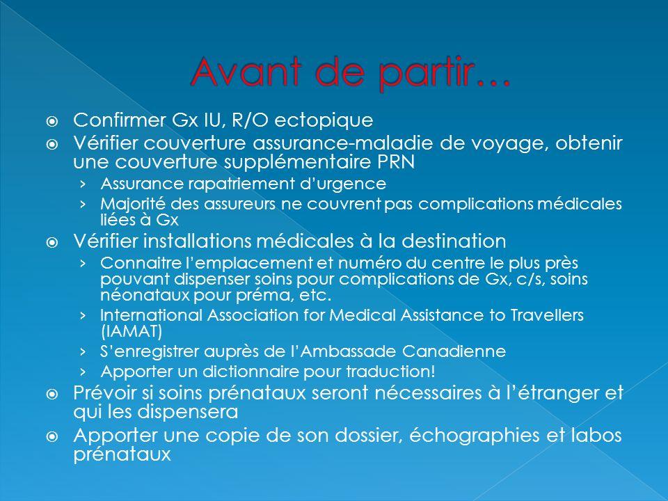 Confirmer Gx IU, R/O ectopique Vérifier couverture assurance-maladie de voyage, obtenir une couverture supplémentaire PRN Assurance rapatriement durge