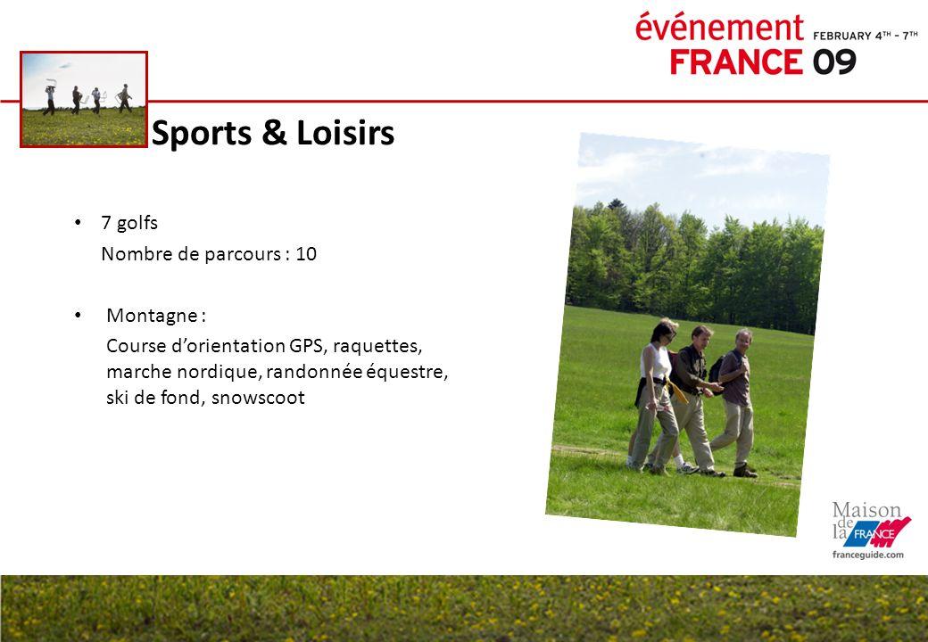 Sports & Loisirs 7 golfs Nombre de parcours : 10 Montagne : Course dorientation GPS, raquettes, marche nordique, randonnée équestre, ski de fond, snow