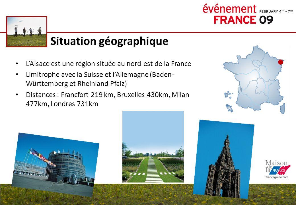 Situation géographique LAlsace est une région située au nord-est de la France Limitrophe avec la Suisse et lAllemagne (Baden- Württemberg et Rheinland