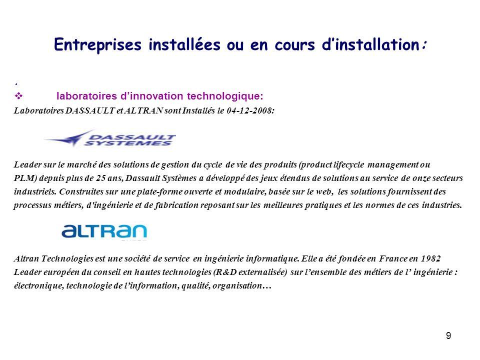 9. laboratoires dinnovation technologique: Laboratoires DASSAULT et ALTRAN sont Installés le 04-12-2008: Leader sur le marché des solutions de gestion