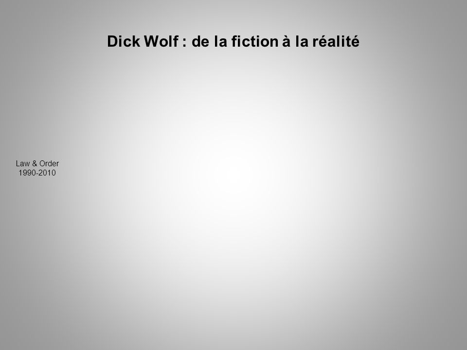 Dick Wolf : de la fiction à la réalité Law & Order 1990-2010