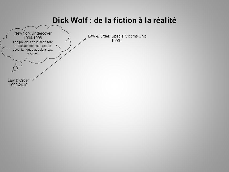 Dick Wolf : de la fiction à la réalité Law & Order 1990-2010 Law & Order: Special Victims Unit 1999+ New York Undercover 1994-1998 Les policiers de la série font appel aux mêmes experts psychiatriques que dans Law & Order.