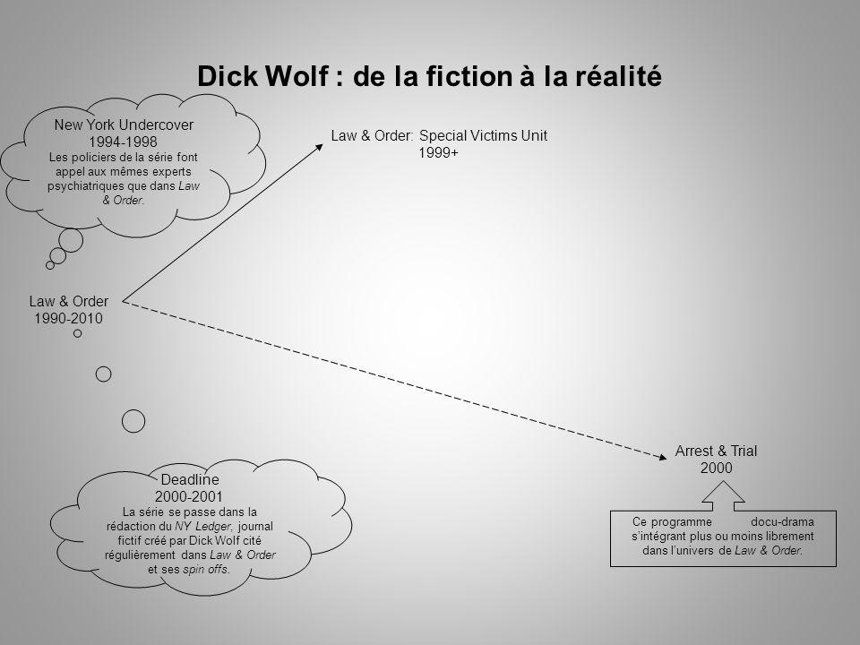 Dick Wolf : de la fiction à la réalité Law & Order 1990-2010 Law & Order: Special Victims Unit 1999+ Deadline 2000-2001 La série se passe dans la rédaction du NY Ledger, journal fictif créé par Dick Wolf cité régulièrement dans Law & Order et ses spin offs.
