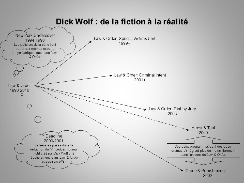 Dick Wolf : de la fiction à la réalité Law & Order 1990-2010 Law & Order: Special Victims Unit 1999+ Law & Order: Criminal Intent 2001+ Law & Order: Trial by Jury 2005 Deadline 2000-2001 La série se passe dans la rédaction du NY Ledger, journal fictif créé par Dick Wolf cité régulièrement dans Law & Order et ses spin offs.