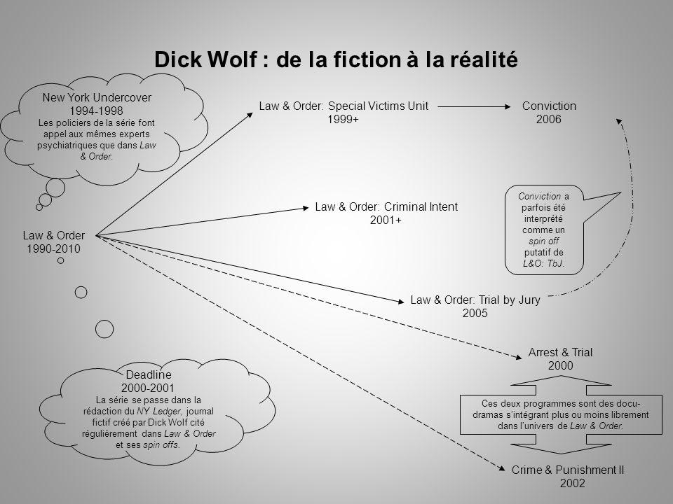 Dick Wolf : de la fiction à la réalité Law & Order 1990-2010 Law & Order: Special Victims Unit 1999+ Conviction 2006 Law & Order: Criminal Intent 2001+ Law & Order: Trial by Jury 2005 Deadline 2000-2001 La série se passe dans la rédaction du NY Ledger, journal fictif créé par Dick Wolf cité régulièrement dans Law & Order et ses spin offs.
