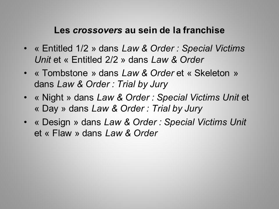 Les crossovers au sein de la franchise « Entitled 1/2 » dans Law & Order : Special Victims Unit et « Entitled 2/2 » dans Law & Order « Tombstone » dans Law & Order et « Skeleton » dans Law & Order : Trial by Jury « Night » dans Law & Order : Special Victims Unit et « Day » dans Law & Order : Trial by Jury « Design » dans Law & Order : Special Victims Unit et « Flaw » dans Law & Order