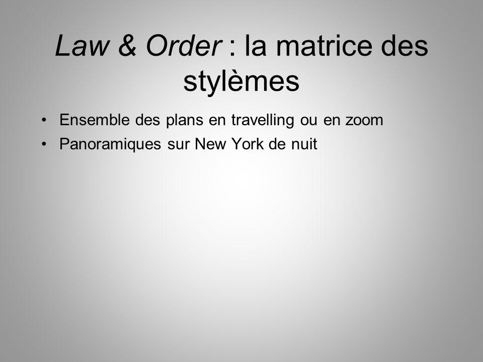 Law & Order : la matrice des stylèmes Ensemble des plans en travelling ou en zoom Panoramiques sur New York de nuit