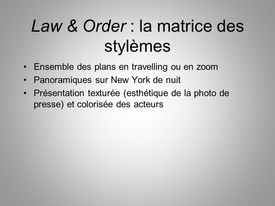 Law & Order : la matrice des stylèmes Ensemble des plans en travelling ou en zoom Panoramiques sur New York de nuit Présentation texturée (esthétique de la photo de presse) et colorisée des acteurs