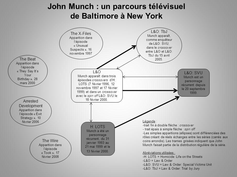 John Munch : un parcours télévisuel de Baltimore à New York H: LOTS Munch a été un personnage récurrent, du 31 janvier 1993 au 21 mai 1999 et le 13 février 2000.