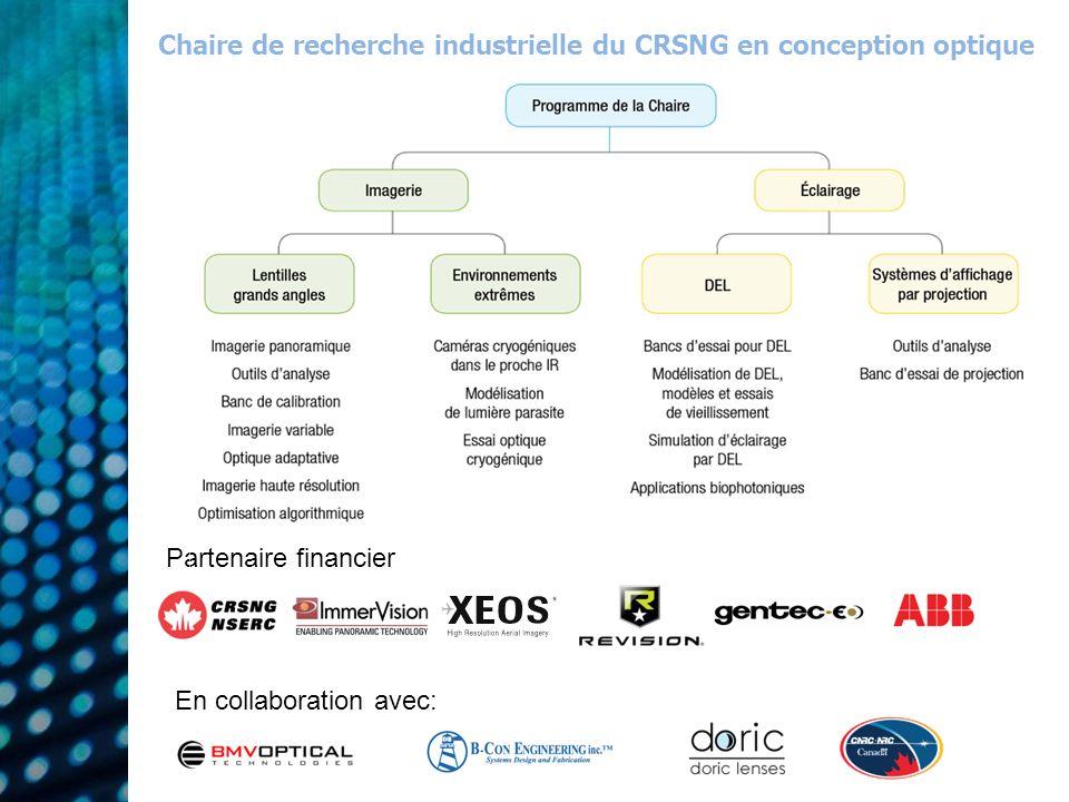 Partenaire financier En collaboration avec: Chaire de recherche industrielle du CRSNG en conception optique