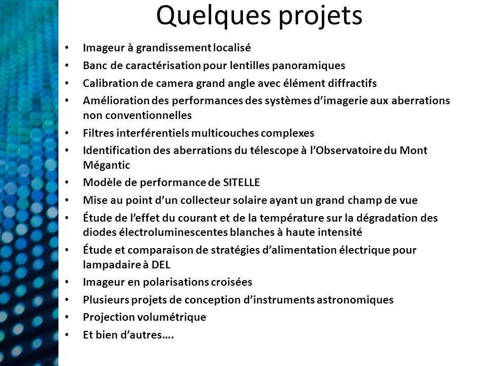 Quelques projets Imageur à grandissement localisé Banc de caractérisation pour lentilles panoramiques Calibration de camera grand angle avec élément d