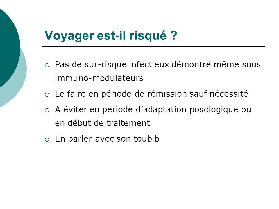 Voyager est-il risqué ? Pas de sur-risque infectieux démontré même sous immuno-modulateurs Le faire en période de rémission sauf nécessité A éviter en