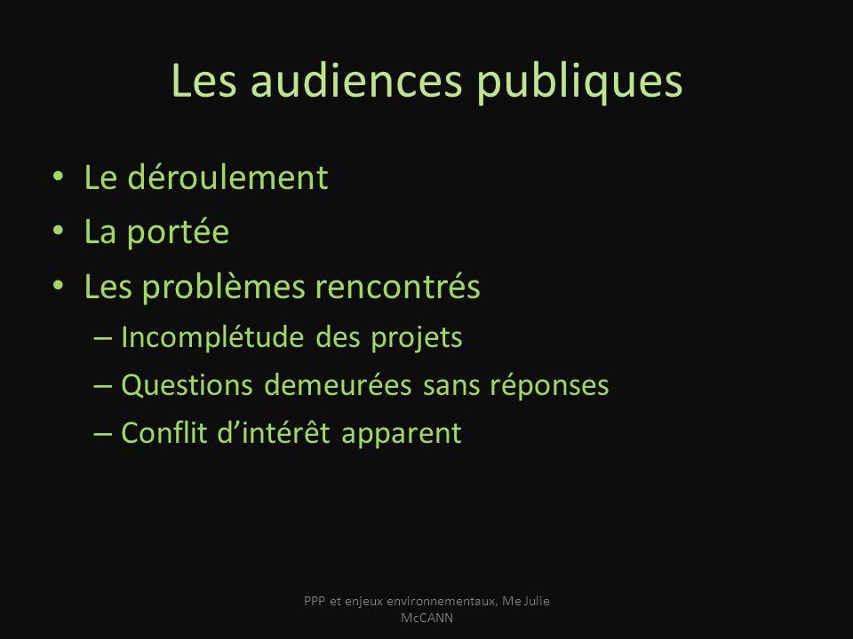 Les audiences publiques Le déroulement La portée Les problèmes rencontrés – Incomplétude des projets – Questions demeurées sans réponses – Conflit din