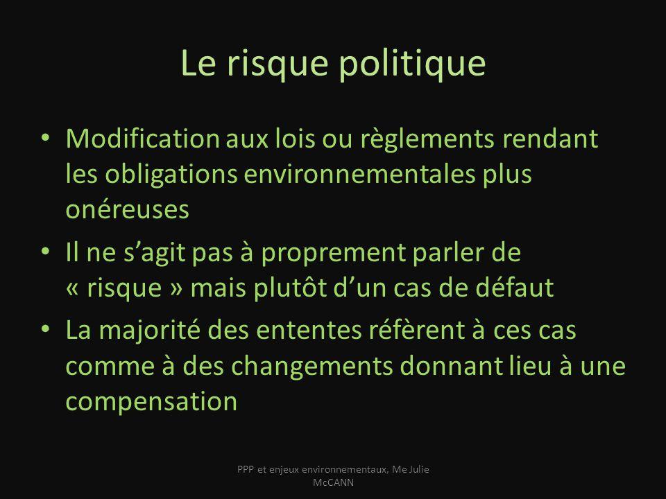 Le risque politique Modification aux lois ou règlements rendant les obligations environnementales plus onéreuses Il ne sagit pas à proprement parler d