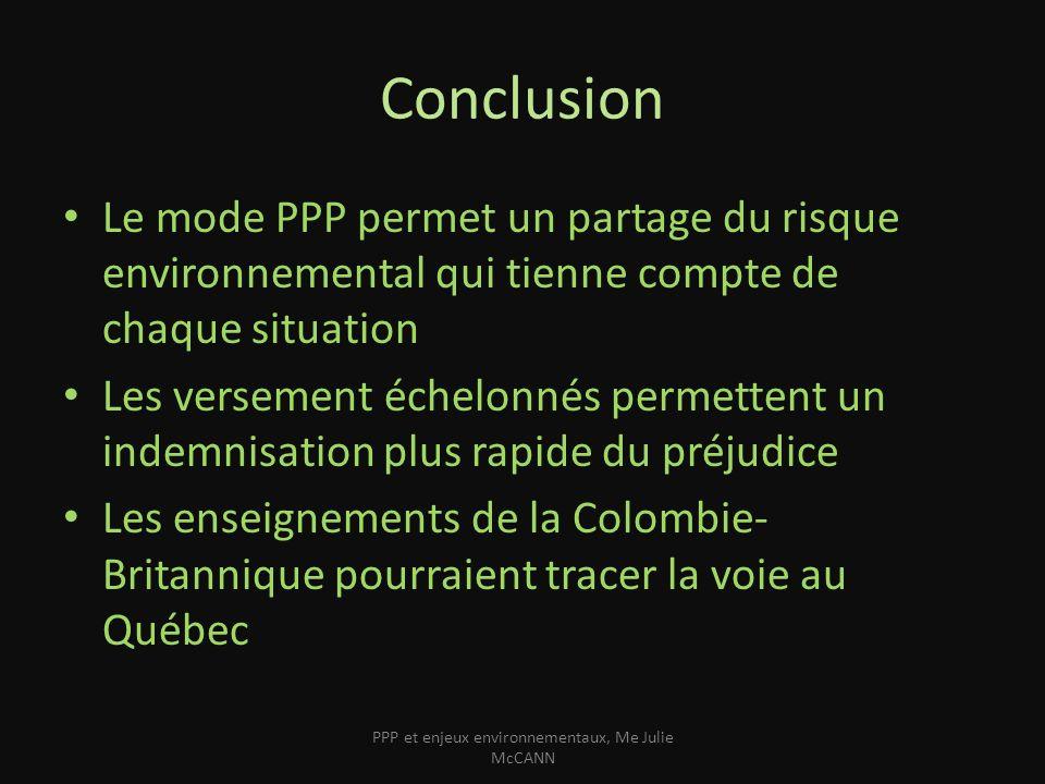 Conclusion Le mode PPP permet un partage du risque environnemental qui tienne compte de chaque situation Les versement échelonnés permettent un indemn