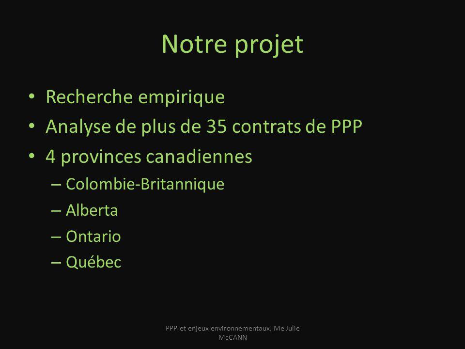 Notre projet Recherche empirique Analyse de plus de 35 contrats de PPP 4 provinces canadiennes – Colombie-Britannique – Alberta – Ontario – Québec PPP