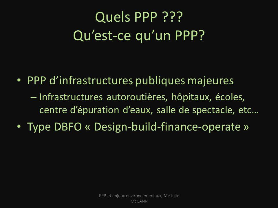 Quels PPP ??? Quest-ce quun PPP? PPP dinfrastructures publiques majeures – Infrastructures autoroutières, hôpitaux, écoles, centre dépuration deaux, s