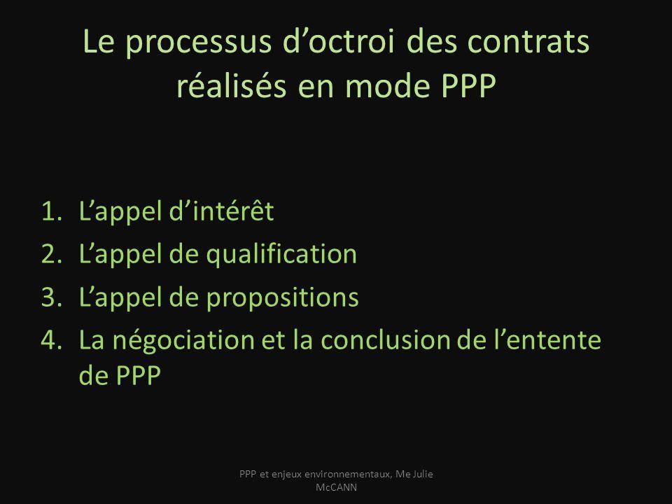 Le processus doctroi des contrats réalisés en mode PPP 1.Lappel dintérêt 2.Lappel de qualification 3.Lappel de propositions 4.La négociation et la con