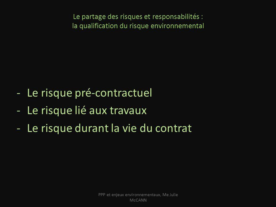 Le partage des risques et responsabilités : la qualification du risque environnemental -Le risque pré-contractuel -Le risque lié aux travaux -Le risqu