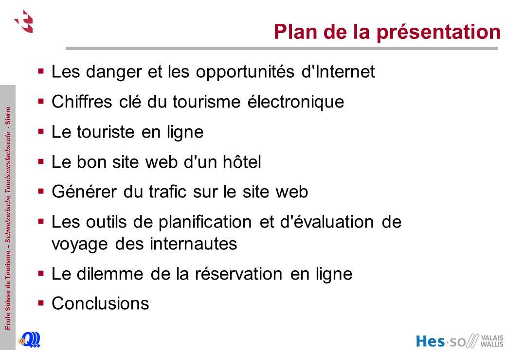 Ecole Suisse de Tourisme – Schweizerische Tourismusfachscule - Sierre Plan de la présentation Les danger et les opportunités d'Internet Chiffres clé d