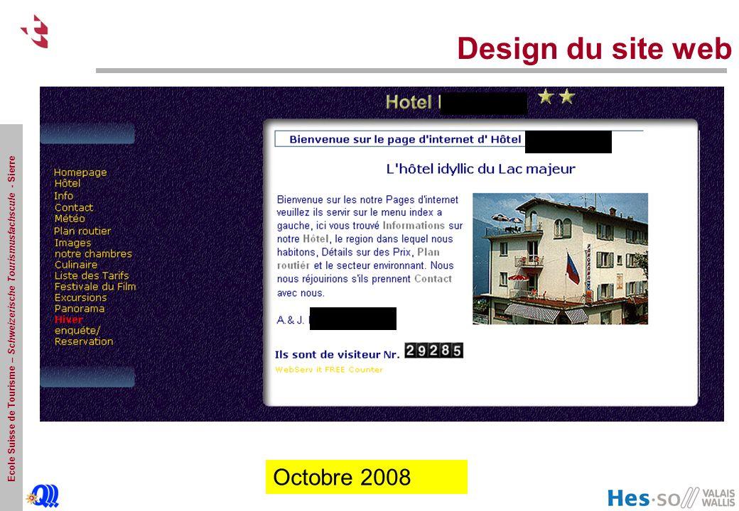 Ecole Suisse de Tourisme – Schweizerische Tourismusfachscule - Sierre Design du site web Octobre 2008 Octobre