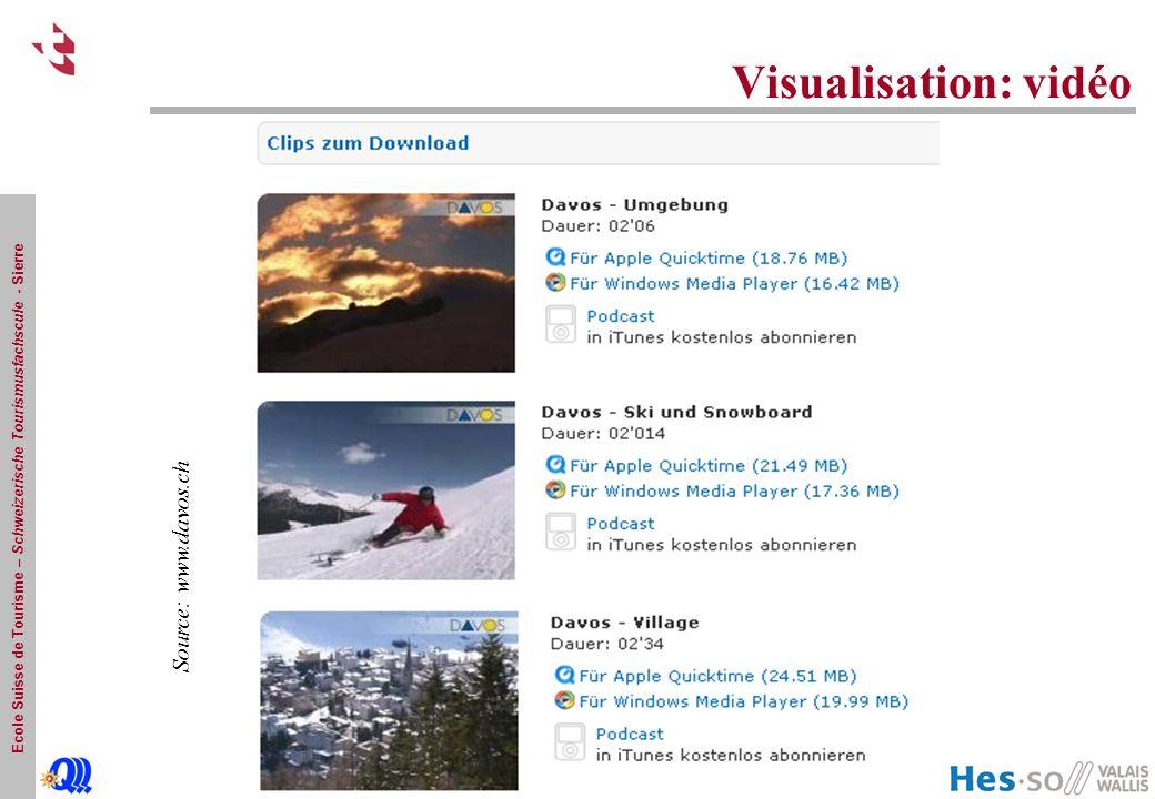 Ecole Suisse de Tourisme – Schweizerische Tourismusfachscule - Sierre Visualisation: vidéo Source: www.davos.ch