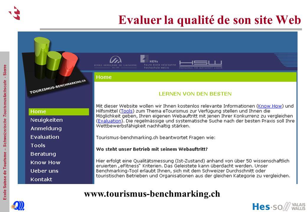 Ecole Suisse de Tourisme – Schweizerische Tourismusfachscule - Sierre Evaluer la qualité de son site Web www.tourismus-benchmarking.ch
