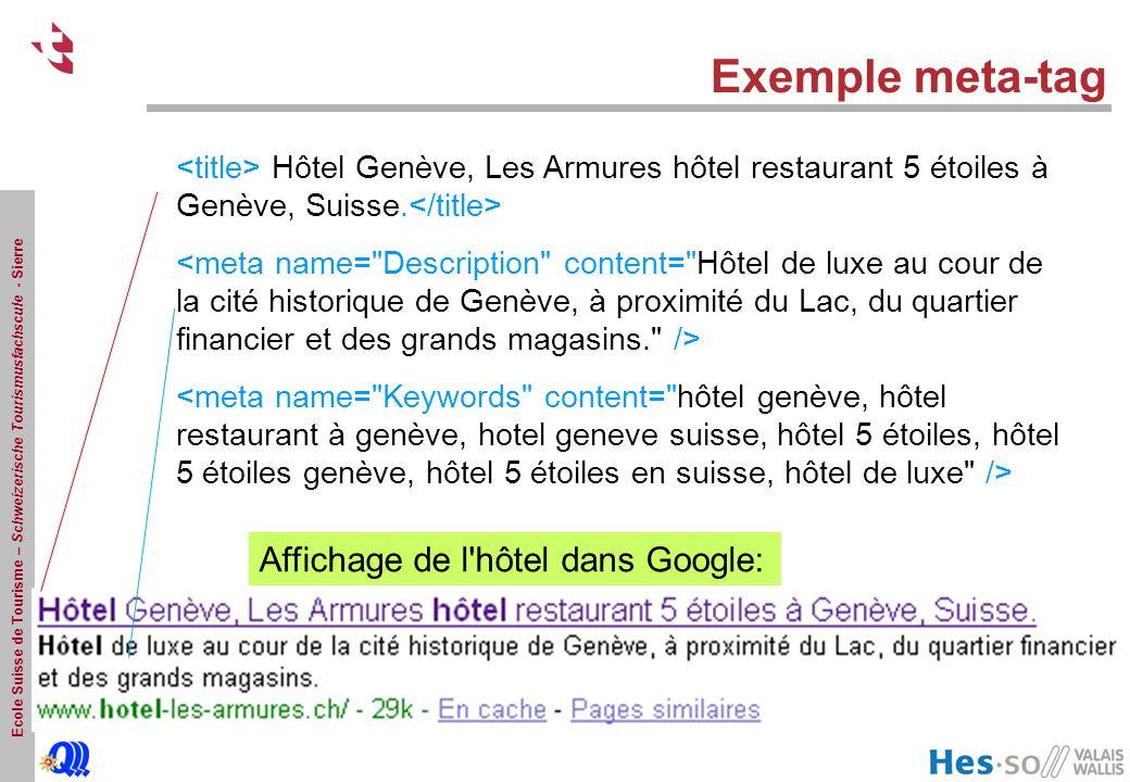 Ecole Suisse de Tourisme – Schweizerische Tourismusfachscule - Sierre Exemple meta-tag Hôtel Genève, Les Armures hôtel restaurant 5 étoiles à Genève,