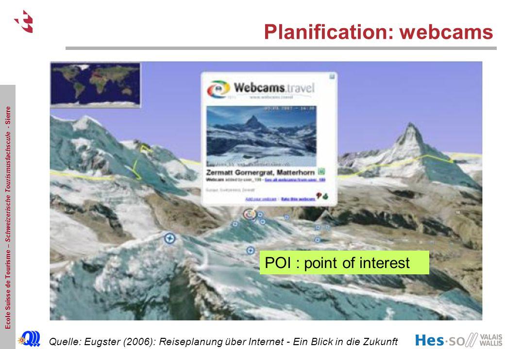 Ecole Suisse de Tourisme – Schweizerische Tourismusfachscule - Sierre Planification: webcams Quelle: Eugster (2006): Reiseplanung über Internet - Ein