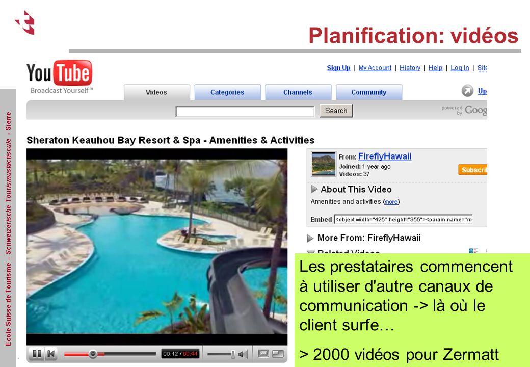 Ecole Suisse de Tourisme – Schweizerische Tourismusfachscule - Sierre Planification: vidéos Les prestataires commencent à utiliser d'autre canaux de c