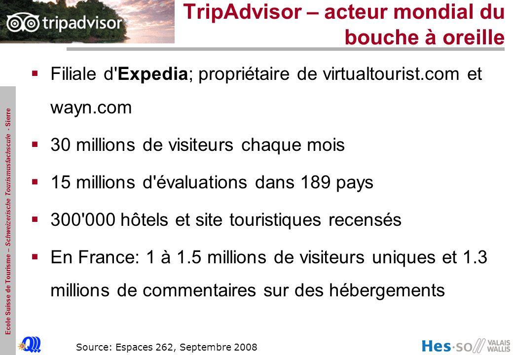 Ecole Suisse de Tourisme – Schweizerische Tourismusfachscule - Sierre TripAdvisor – acteur mondial du bouche à oreille Filiale d'Expedia; propriétaire