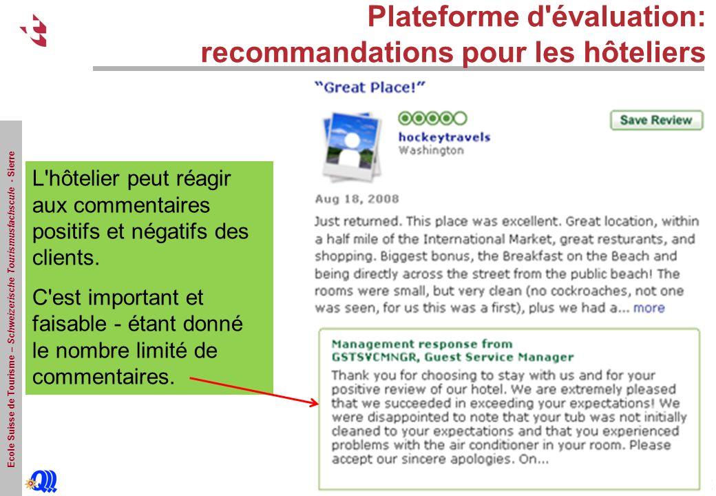 Ecole Suisse de Tourisme – Schweizerische Tourismusfachscule - Sierre Plateforme d évaluation: recommandations pour les hôteliers L hôtelier peut réagir aux commentaires positifs et négatifs des clients.