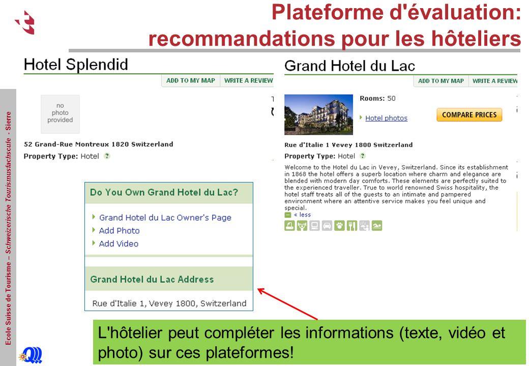 Ecole Suisse de Tourisme – Schweizerische Tourismusfachscule - Sierre Plateforme d évaluation: recommandations pour les hôteliers L hôtelier peut compléter les informations (texte, vidéo et photo) sur ces plateformes!