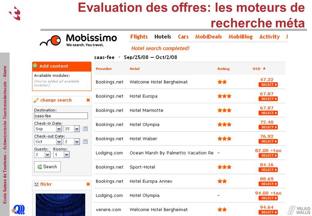 Ecole Suisse de Tourisme – Schweizerische Tourismusfachscule - Sierre Evaluation des offres: les moteurs de recherche méta