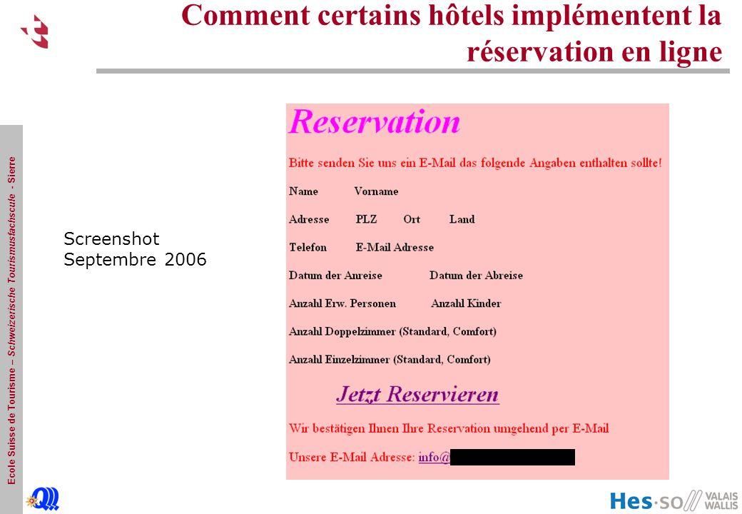 Ecole Suisse de Tourisme – Schweizerische Tourismusfachscule - Sierre Comment certains hôtels implémentent la réservation en ligne Screenshot Septembre 2006